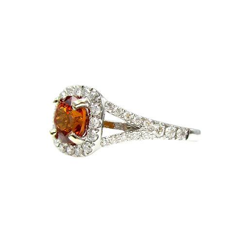Spessartite Garnet & Diamond 14K Gold Ring