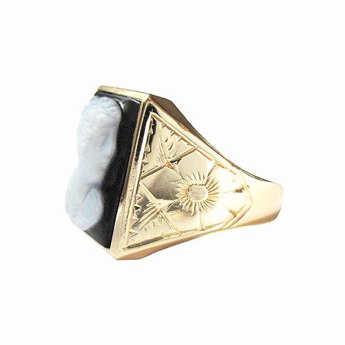 Black Sardonyx Hardstone Neoclassical Cameo Ring