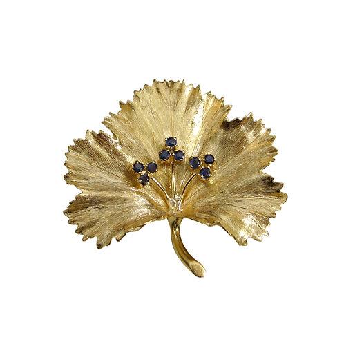 Italian Sapphire & 18K Grape Leaf Brooch