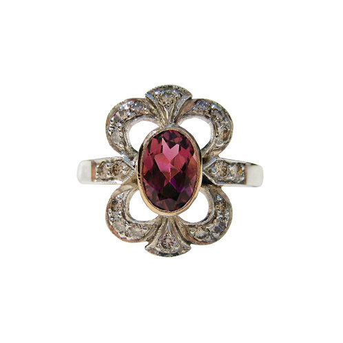 Pink Tourmaline & Diamond Dinner Ring
