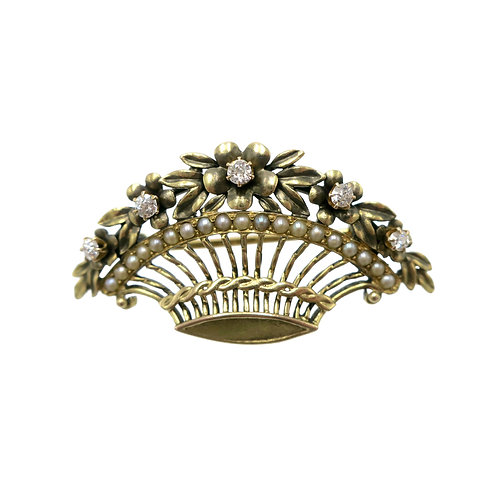 Antique Old Mine Cut Diamond & Seed Pearl Edwardian Flower Basket Brooch