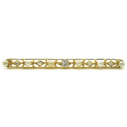 Old European Cut Diamond & Pearl 14K Bar Pin