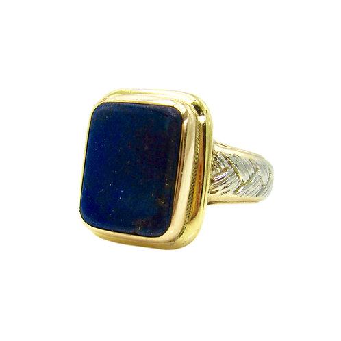 Lapis Lazuli, Platinum, & 18K Gold Gent's Ring