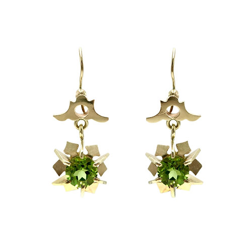 Antique Peridot & 14K Rose Gold Dangle Earrings | August Birthstone
