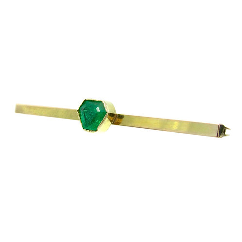 Emerald 9K Gold Antique Bar Brooch Pin