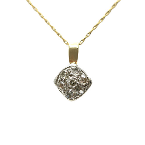 Old Mine Cut Diamond 14 Karat Gold Pendant Converted From Antique Cluster Ring