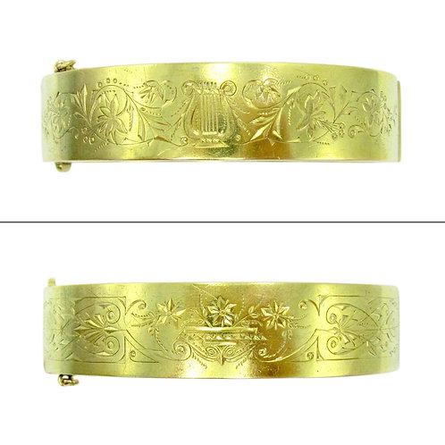 Reversible Victorian Lyre Engraved 14K Bangle
