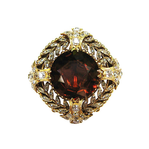 Antique French Madeira Citrine & Diamond Brooch