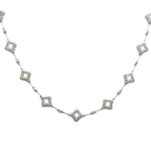 Estate 1.26ctw Diamond Quatrefoil 18K Necklace