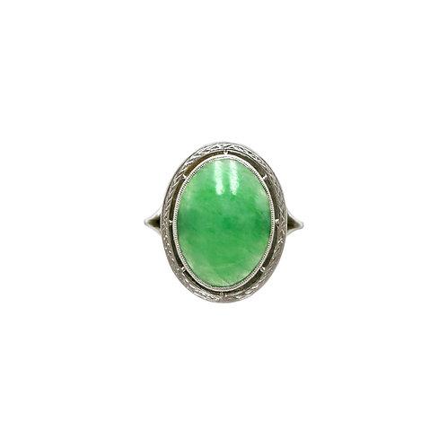 Vintage Jadeite / Jade & Platinum Engraved Statement Ring