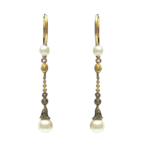Antique Pearl & Rose Cut Diamond Dangle Earrings