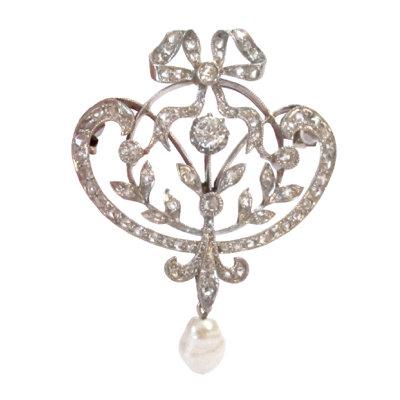 Belle Époque Diamond Garland Pendant/Brooch