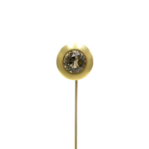 Vintage Smoky Quartz 14K Gold Stick Pin | Lapel Pin | Tie Pin
