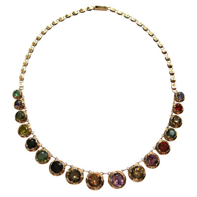 Victorian Colored Gemstone Rivière Necklace
