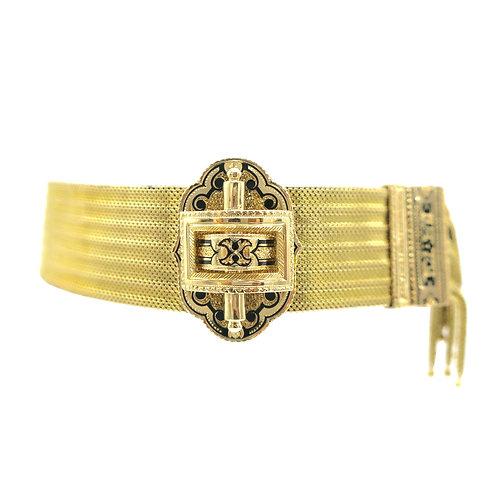 Slinky Victorian Taille d'Epargné Enamel Antique 14K Gold Adjustable Bracelet