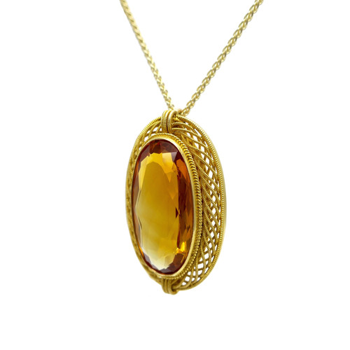 cf886c4f6 Antique Oval 9.25ct Citrine Pendant in Woven 14K Gold Frame