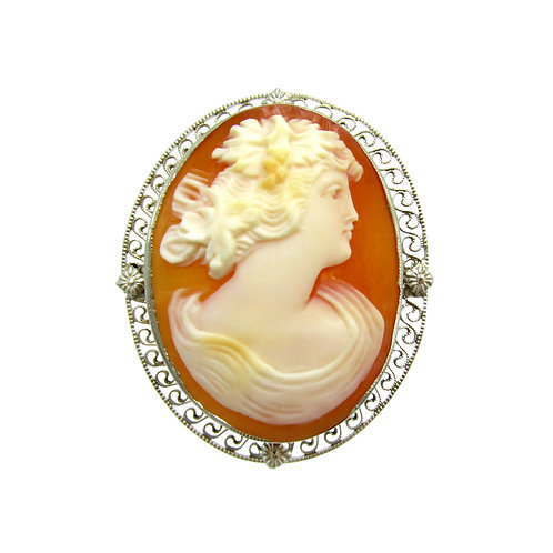 Bacchante Carved Carnelian Shell Cameo Brooch