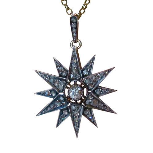 Victorian 2.50tcw Diamond Star Pendant Necklace