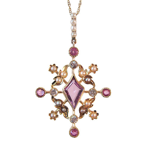 Edwardian Pink Sapphire, Diamond, & Pearl Pendant