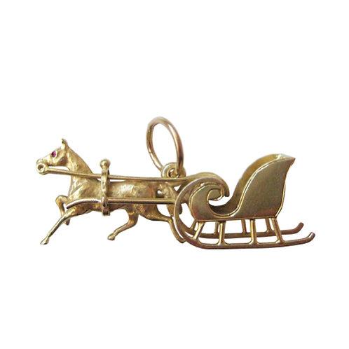 Rare Horse & Sleigh Ruby Charm