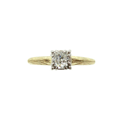 Vintage Old Mine Cut Diamond Hand Engraved Ring