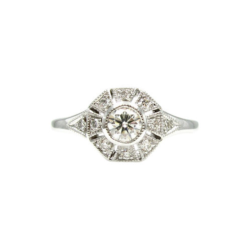 Deco Style .50 tcw Diamond & 18K Engagement Ring