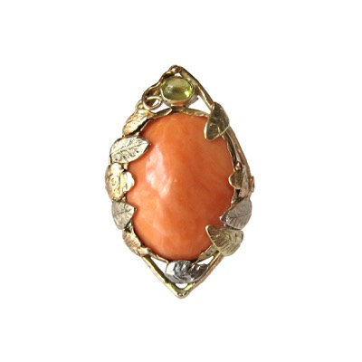 Vintage Coral & Chrysoberyl Floral Ring