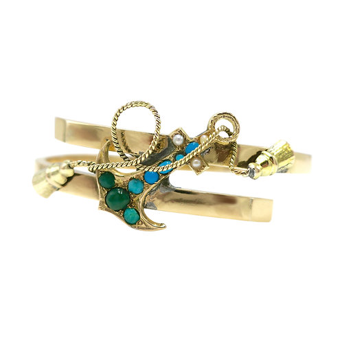 Antique Russian Turquoise & Pearl Anchor Bracelet