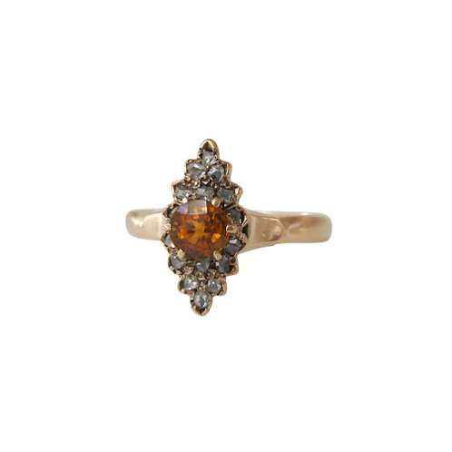 Rose Cut Citrine & Diamond Navette Ring