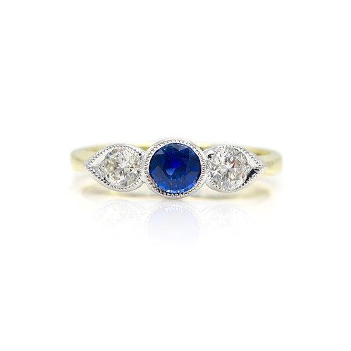 Jonathan Lynne Sapphire & Diamond Three Stone 18 Karat Gold Ring