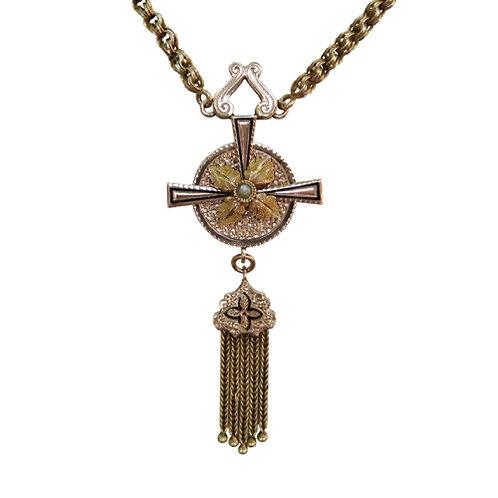 Antique Taille d'Epargné Tassel Necklace Cross