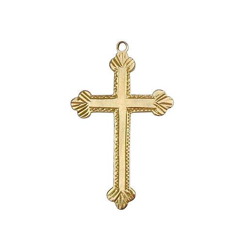 Antique Budded Apostles' Cross Pendant 14K Gold