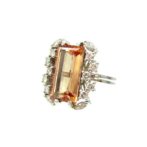 Vintage Imperial Topaz, Diamond, & Platinum Ring