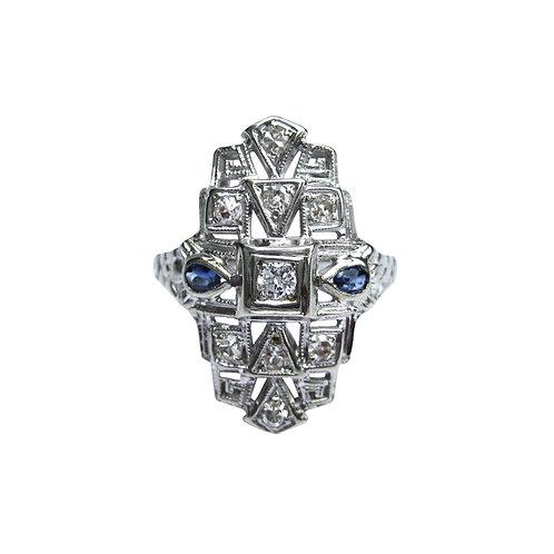 Art Deco Diamond & Sapphire 18K Statement Ring
