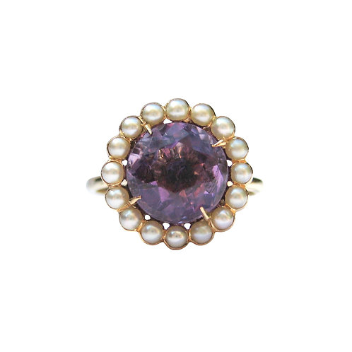 Antique Amethyst & Seed Pearl Cluster Ring 14K