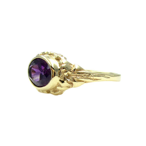 Ed Levin Amethyst Oval 14K Gold Abstract Ring