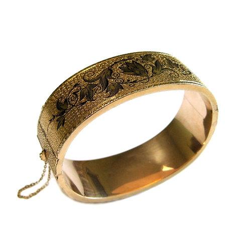 Victorian Taille d'Epargné Enamel Bangle Bracelet