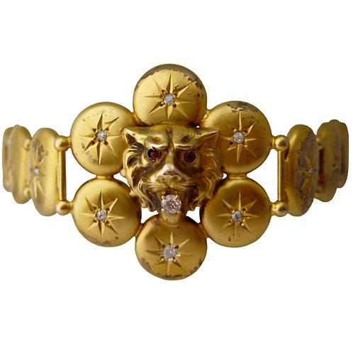 Victorian Lion's Head Diamond & Ruby Bracelet
