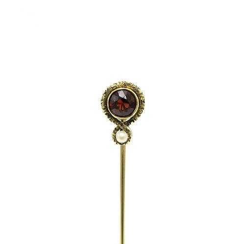 Sansbury & Nellis Antique Garnet, Pearl, 14K Gold Art Nouveau Stick Pin