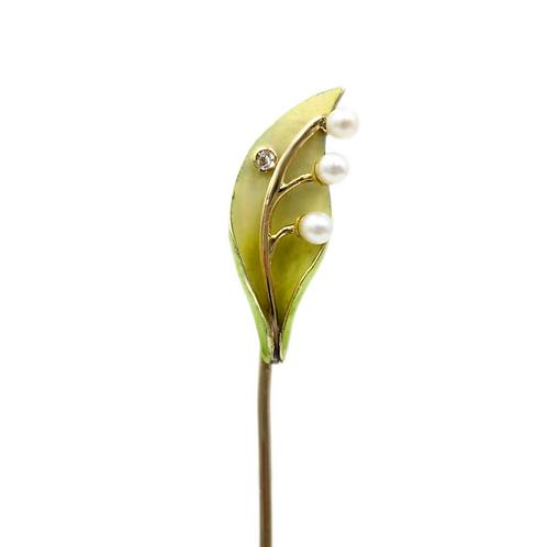 Antique Art Nouveau Enamel, Diamond, & Seed Pearl 10K Gold Calla Lily Stick Pin