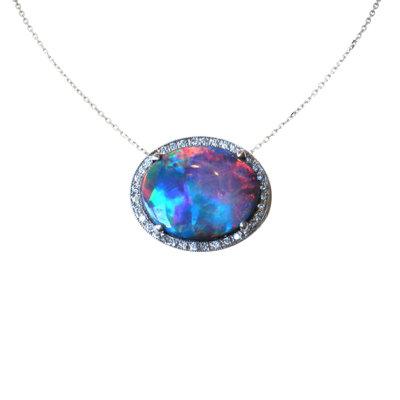 Fine Black Opal and Pave Diamond Pendant