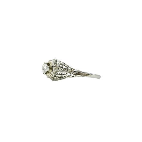 Vintage .20 Carat Rose Cut Diamond & 18K White Gold Filigree Engagement Ring