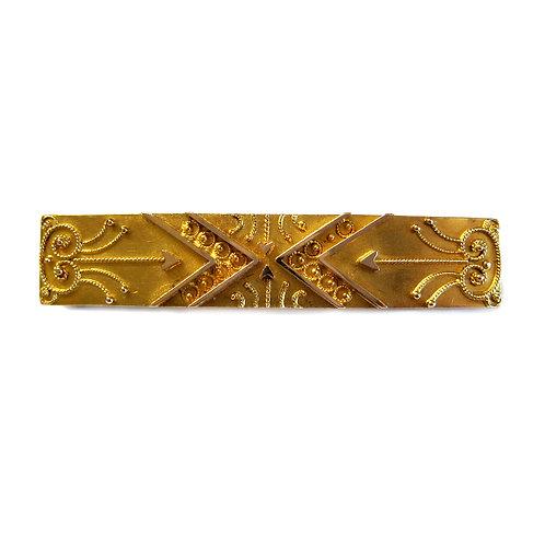 Gold Etruscan Revival Bar Brooch