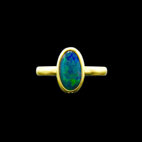 Solid 1.65 Carat Black Opal 18K Handmade Ring