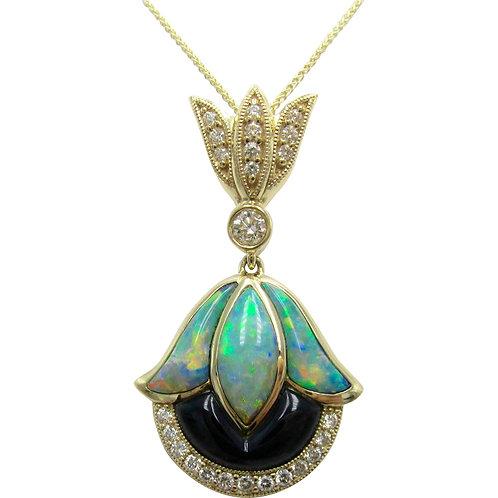 Kabana Opal, Onyx, & Diamond 14K Gold Pendant