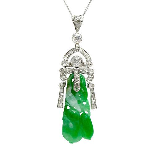Jade & 2 Carat Diamond Platinum Art Deco Pendant