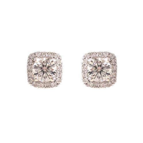 .87 TCW Diamond Halo 14K White Gold Earrings