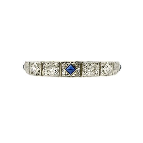 Charles Keller & Co. Sugarloaf Sapphire, Diamond, 14K Filigree Vintage Bracelet