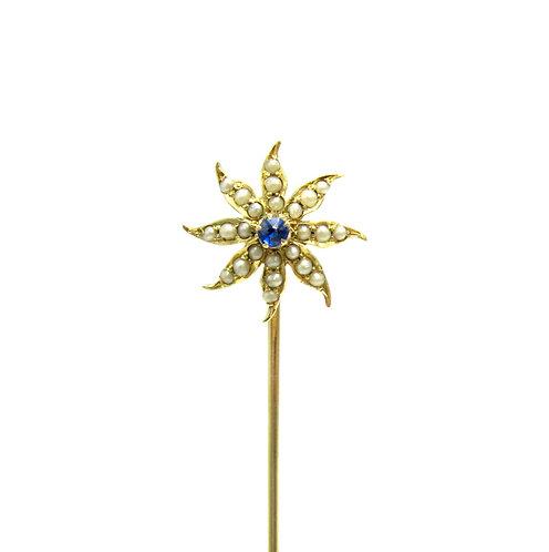 Sapphire & Pearl Sunburst / Starburst Stick Pin
