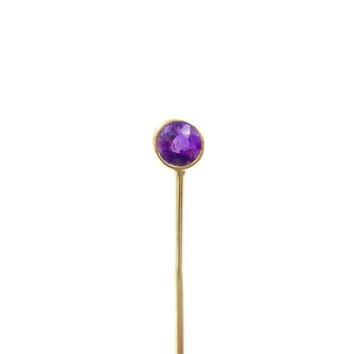 Edwardian Amethyst 14K Gold Short Stick Pin
